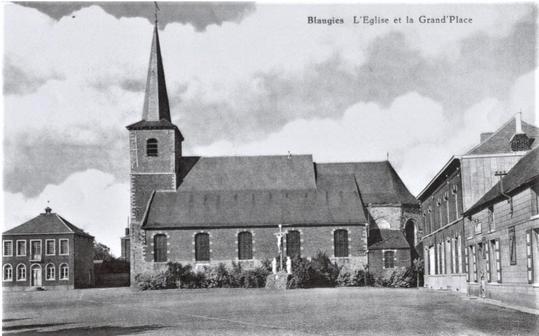L'église et la grand-pace de Blaugies